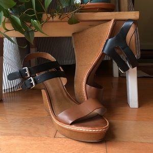 Mission Tan and Black Wedge Heels